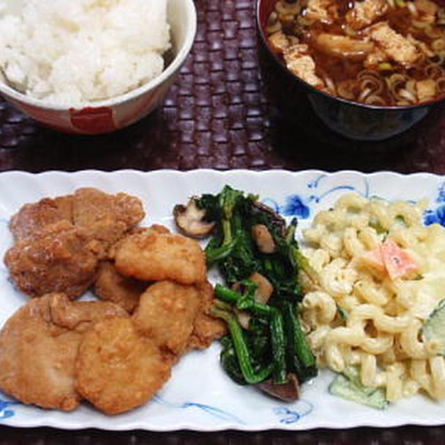 【献立】お刺身唐揚げ、ほうれん草とマッシュルームのバターソテー、マカロニサラダ、お味噌汁