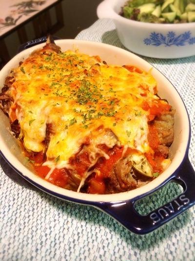 ストウブキャセロールで「ナスの牛肉巻き トマトチーズ焼き」