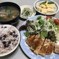 赤えんどう豆ご飯と豚肉のハニーマスタードソテー