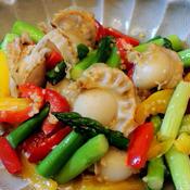 ベビーホタテと夏野菜のガーリックソテー