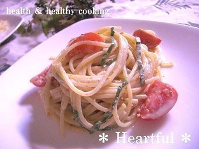 フルーツトマトの冷たい和風パスタ