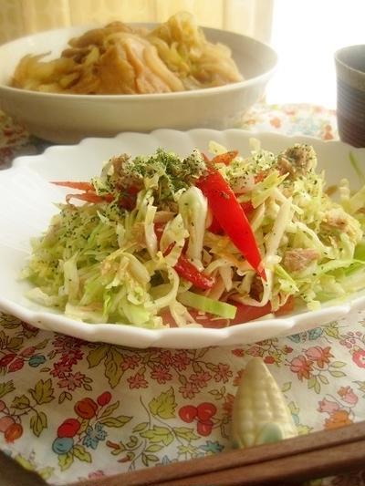 キャベツとツナ缶のパクチー風味サラダ