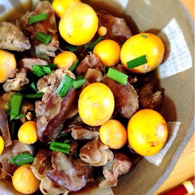 キンカンとレバー、砂肝の煮物。