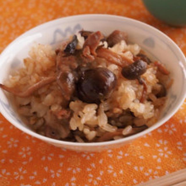 きのこと豚肉と甘栗の中華風たきこみご飯