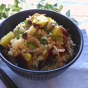 麺つゆで楽々♪さつま芋と豚肉の炊き込みご飯