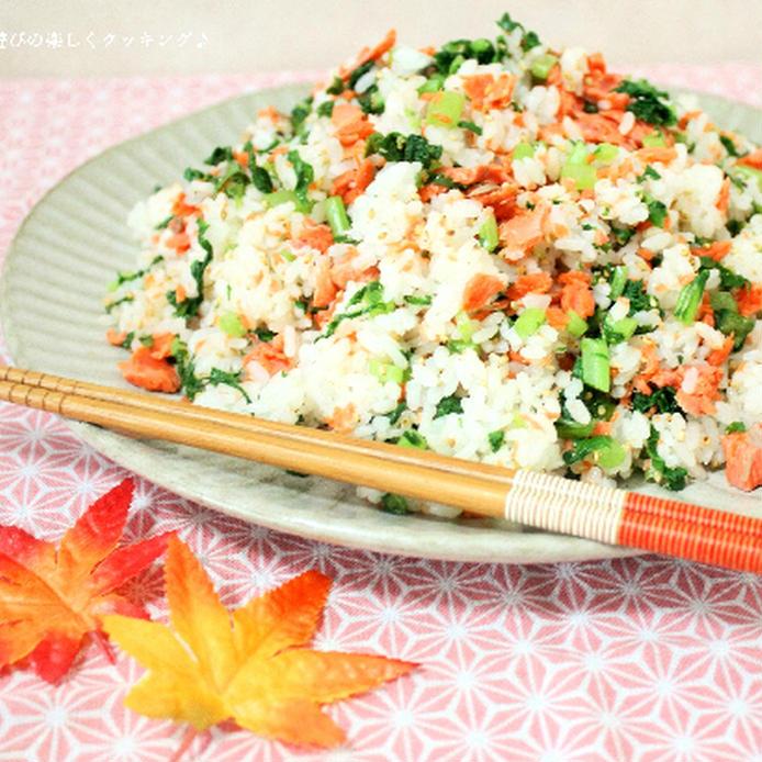 丸いお皿に盛られた塩鮭と大根の葉の混ぜご飯