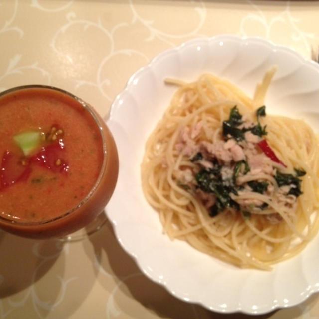夏の定番スープ♡ガスパチョ & 年中定番パスタ♡大葉とツナのオイルソース