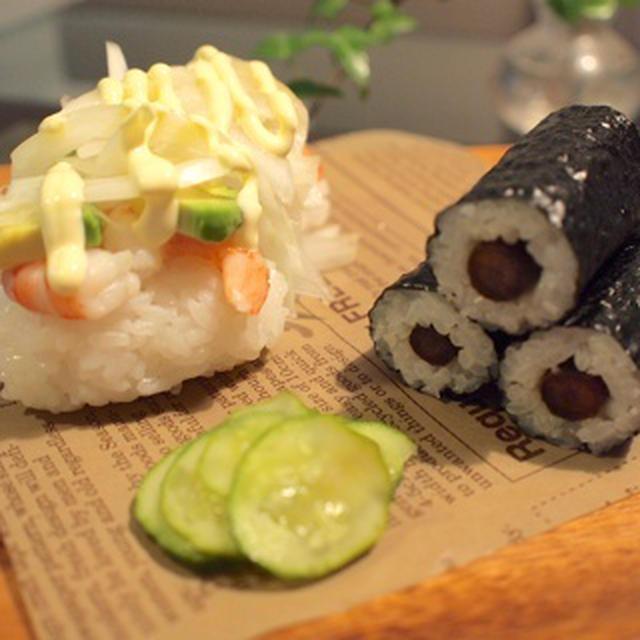 海老アボカドとごぼう巻き寿司&ごま豆乳バナナスムージー