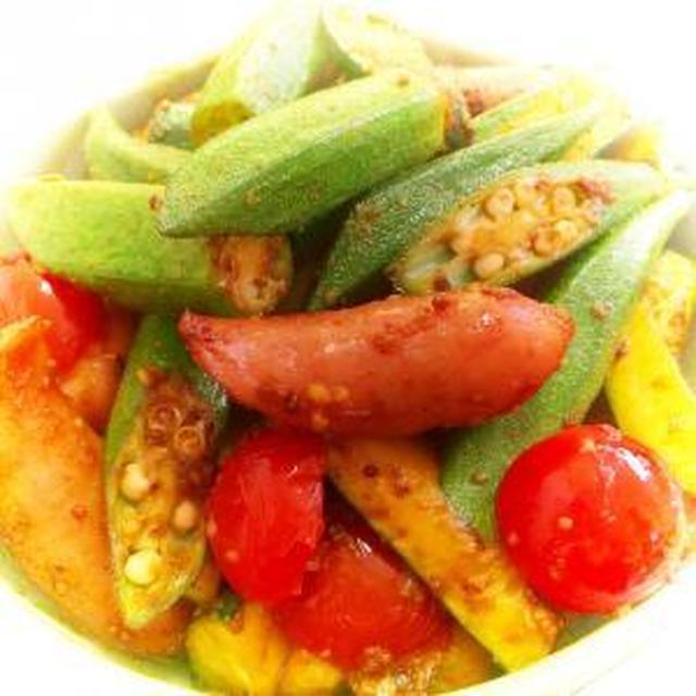 夏野菜とウィンナーのスパイシー炒め