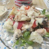 ちゃんちゃん焼き風チーズソースをかけて♪ 鮭缶とトマトのサラダ