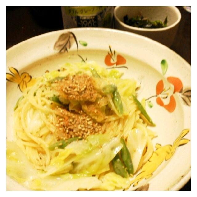 今日の夕ご飯☆キャベツとインゲンの野菜パスタ