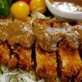 【白ごま胡桃味噌ソースの トンカツ定食】一人晩ご飯セットです♪ by あきさん