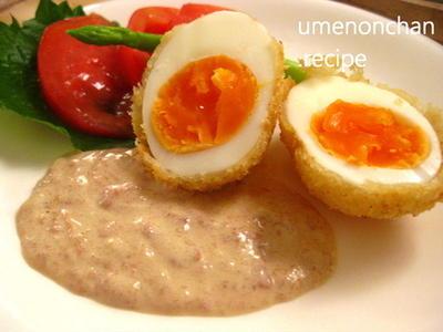 ゆで卵フライ。梅サラダソース。°