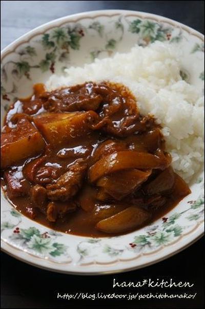 豚骨スープの簡単レシピ。と、カレーライス。