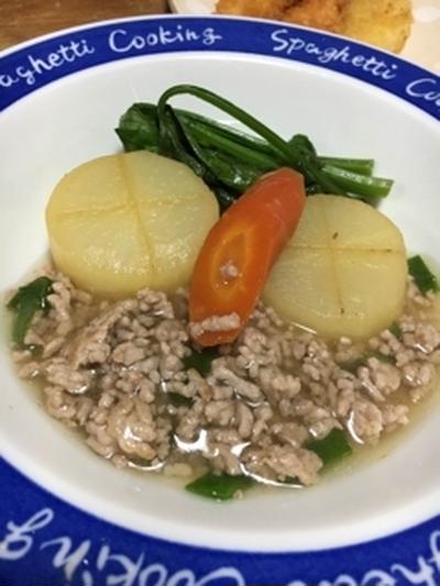 冬野菜の出汁煮 ひき肉餡かけ