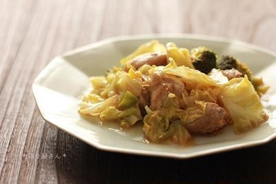 鶏肉とキャベツのマスタード蒸し炒め