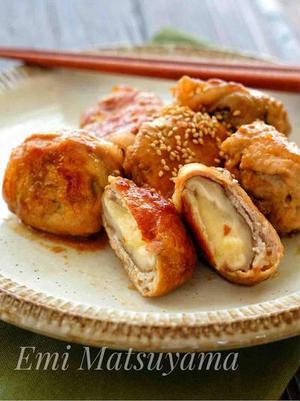■肉巻きしいたけチーズのぽん酢照り焼き<br><br>しいたけとチーズを豚肉で巻いて、ぽん酢ベースの...