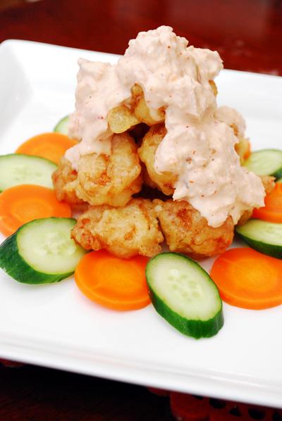 海老の天ぷら ツナチリソース