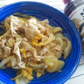 【追いがつおつゆで手軽にプロの技】親子丼より美味しい、簡単、豚バラ卵とじ