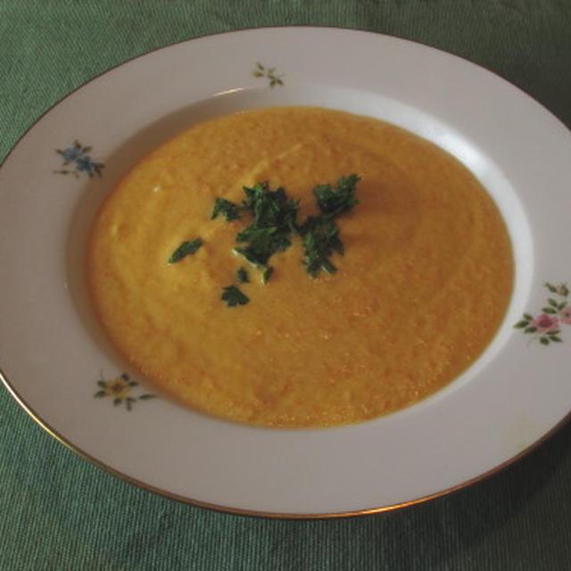 キャロットスープ&アボカドのワカモレ風サラダ  1・14・2013