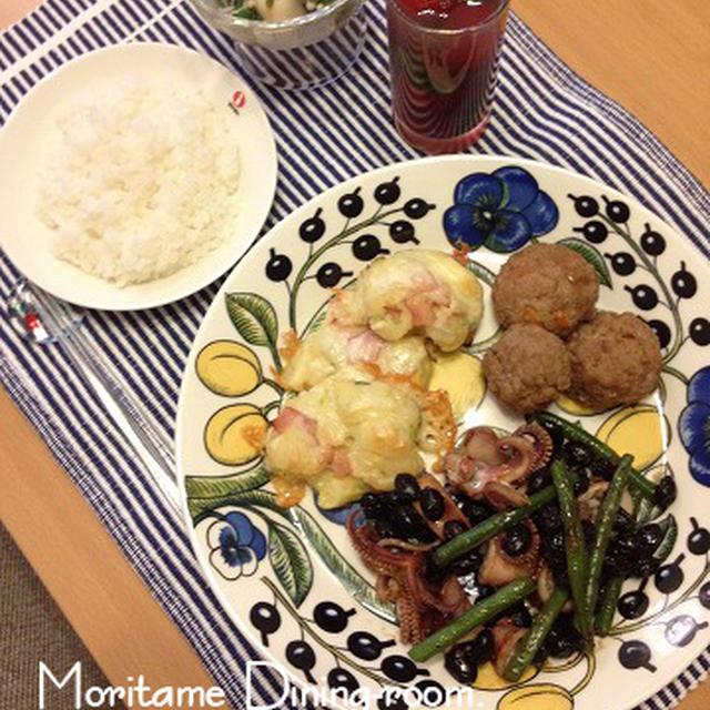 切干大根→和風肉だんご&ポテサラ→ポテチー