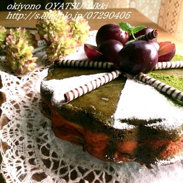抹茶マーブルチーズケーキと紫芋のマーブルクッキー。