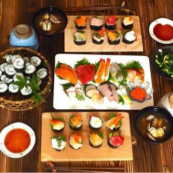 息子の誕生日は、手乗せ寿司