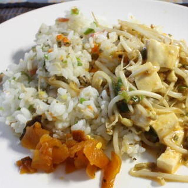 レンジ炒飯のエコ麻婆豆腐のっけ
