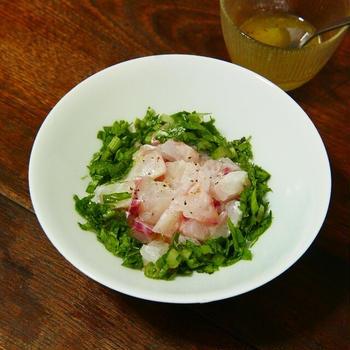 鯛とセロリの葉のカルパッチョ【スパイスアンバサダー2021】【レシピ2096】