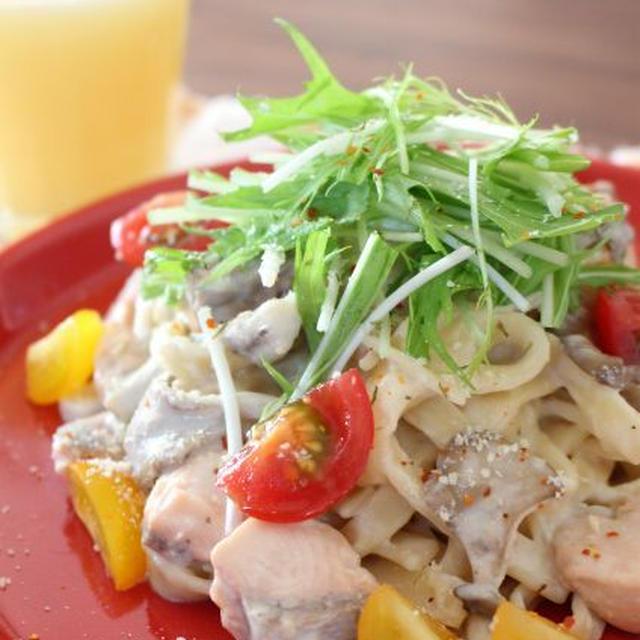 グルテンフリー☆SOY PASTAで鮭と水菜の生姜味噌クリームパスタ