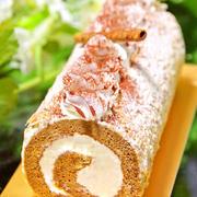 ホットケーキミックスHMで簡単お菓子♡ふわふわモカ ロールケーキ ♪父の日や敬老の日にも