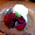 桃のサングリア漬け ~ バニラアイスクリームと