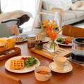 米粉とおからパウダーのワッフルで朝ごはん