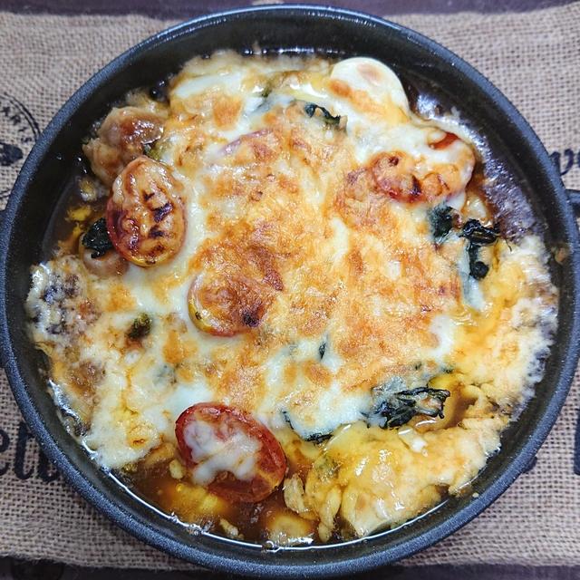 トースターで簡単チーズタッカルビ(鶏もも肉、小松菜、ミニトマト、チーズ)