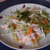 しゃきしゃき水菜と大根のサラダ☆しそ梅ヨーグルトドレッシングかけ