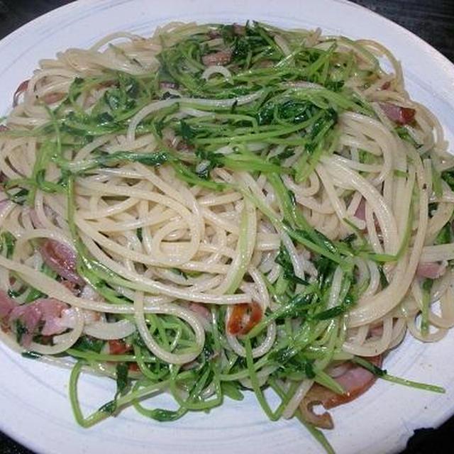 ◎[麺]ベーコンと豆苗のペペロンチーノ