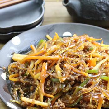 野菜、ひき肉のチャプチェ
