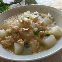 ボーソー米油部♪ヘルシー&節約料理!大根と鶏ひき肉のピリ辛炒め
