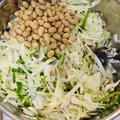 お豆のサラダ キャベツ、マッシュルーム、ピーマン (今回の豆はゆきほまれ)