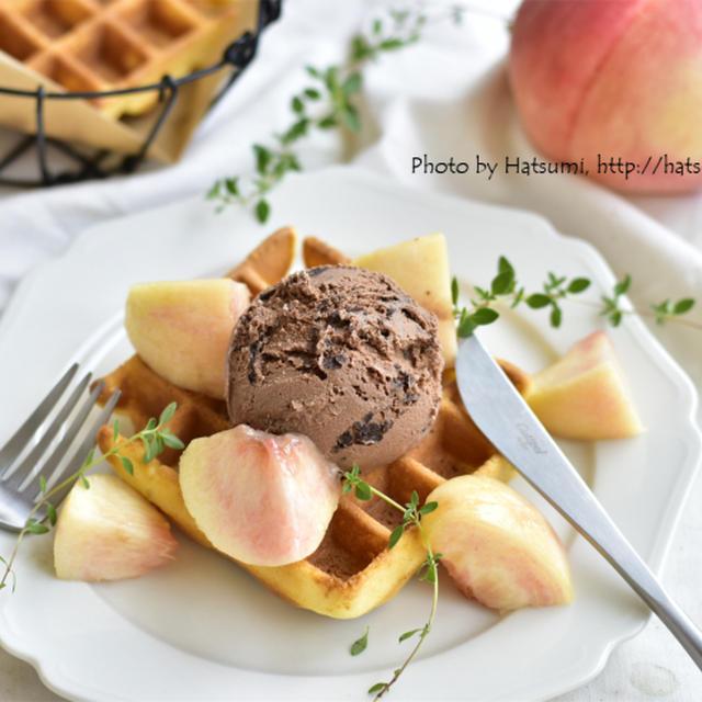 【レシピ】サクッとアメリカンワッフル、と桃の剥き方