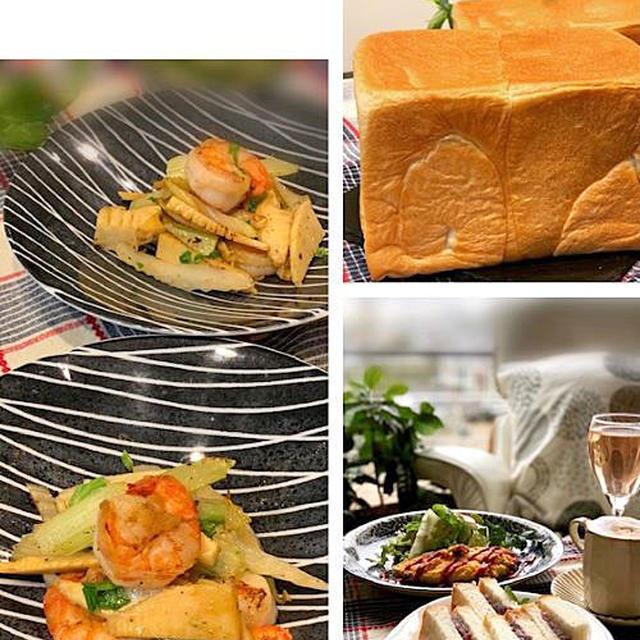 昨日のランチは粒餡サンドを作りました~レシピは筍と海老でガーリックシュリンプ!!今朝の富士山