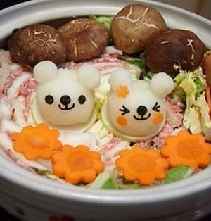 挽肉、ベーコンと白菜の重ね鍋大根おろしアート