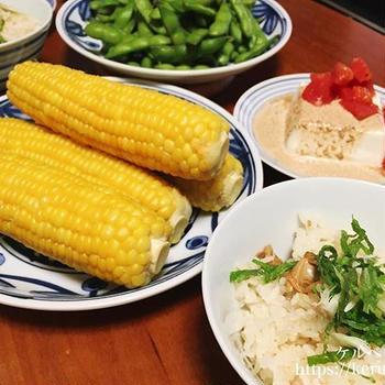 あさりの炊き込みご飯と夏野菜の献立