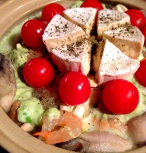 海の幸deアボカド豆乳カマンベールチーズ鍋