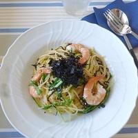 海老と水菜の和ーリオ・オーリオ ~乾物イタリアン~