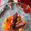 蛍烏賊とオレンジのマリネ コシアブラの天ぷら