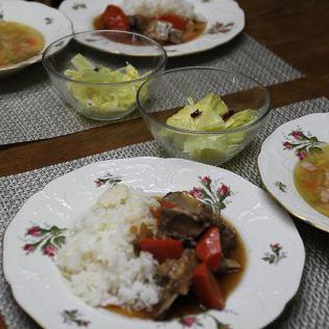 レシピ付き献立 スペアリブのシンプル煮込み・キャベツのマリネ・野菜スープ