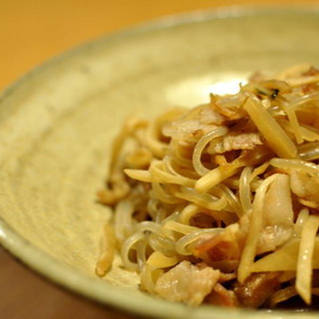 豚生姜としらたきの炒めもの