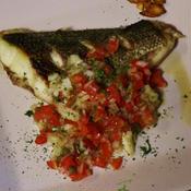 白身魚のオリーブオイル焼き〜トマトドレッシング