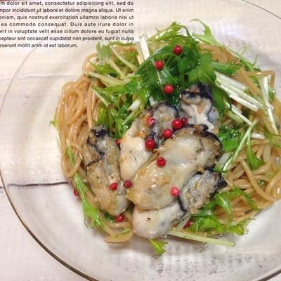 牡蠣と水菜のパスタ